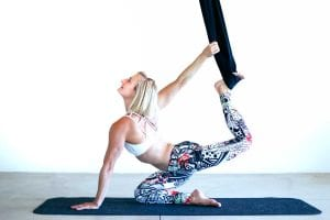 backbend variation in aireal yoga