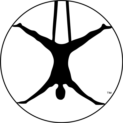 aireal yoga logo black icon with person in hammock